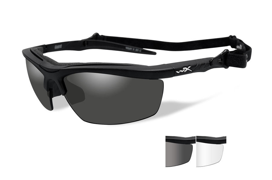 Wiley X GUARD Sunglasses in 4004 Matte Black w/ Smoke Grey & Clear Lenses