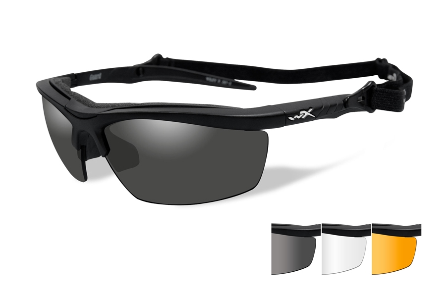 Wiley X GUARD Sunglasses in 4006 Matte Black w/ Smoke Grey, Clear, & Light Rust Lenses