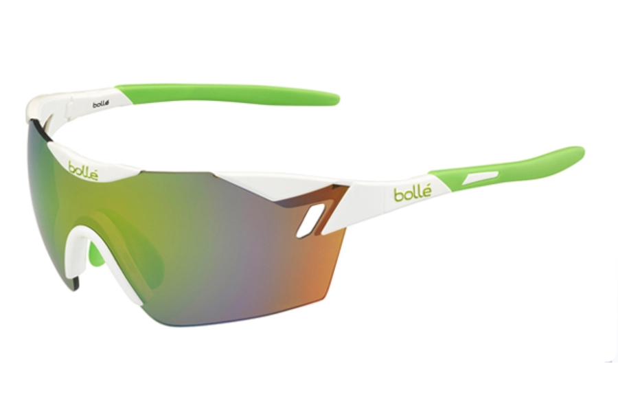 Bolle 6th Sense Sunglasses in 11840 Shiny White - Lime w/ Modulator Green Emerald Oleo AF Lenses