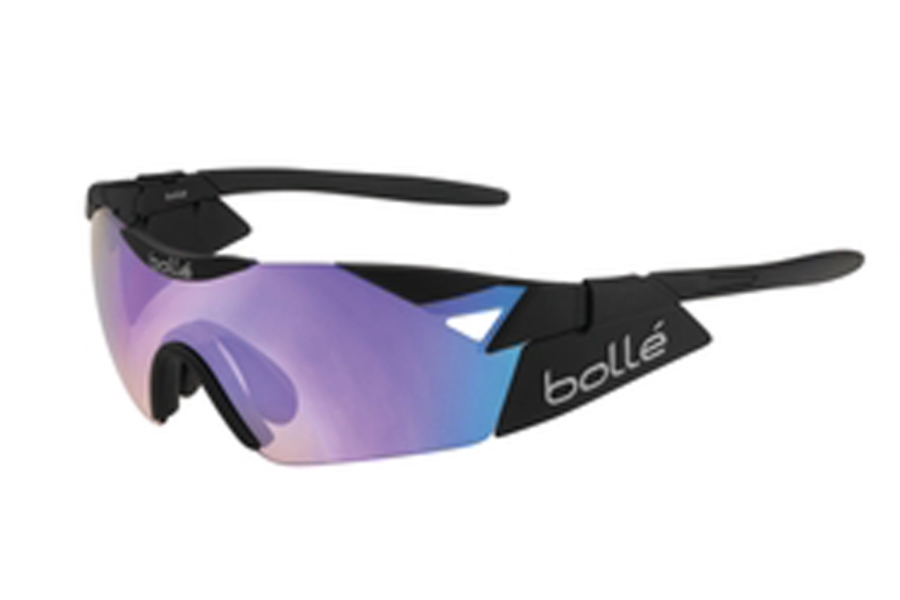 Bolle 6th Sense Sunglasses in 11912 Matte Black/Black w/BlueViolet Oleo/AF 7 Base, 11912