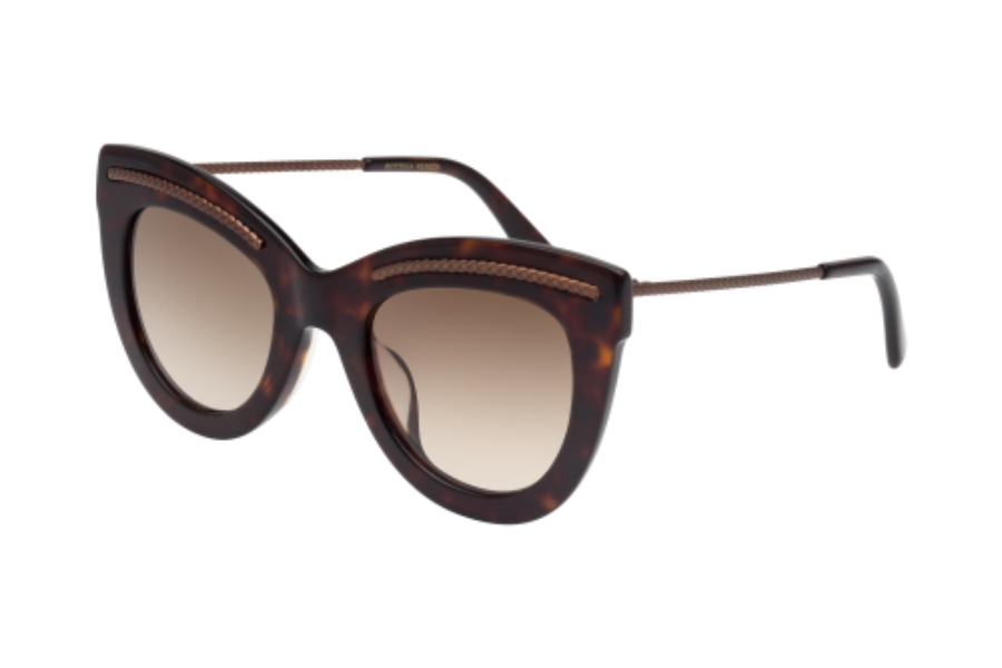 Bottega Veneta BV0030SA Sunglasses in 003 Dark Havana with Opaque Bronze Temple and Gradient Brown Lens