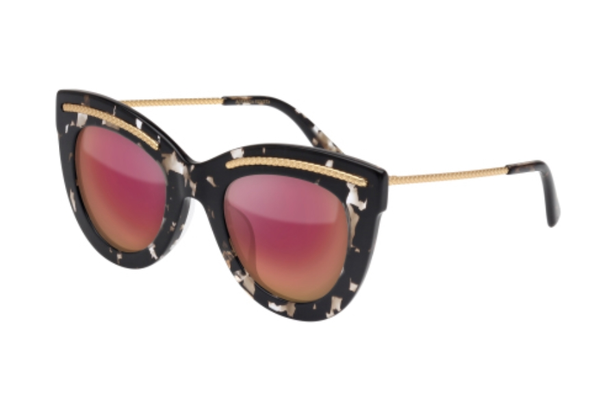 Bottega Veneta BV0030SA Sunglasses in 004 Dark Grey Havana with Opaque Gold Temple and Copper Lens