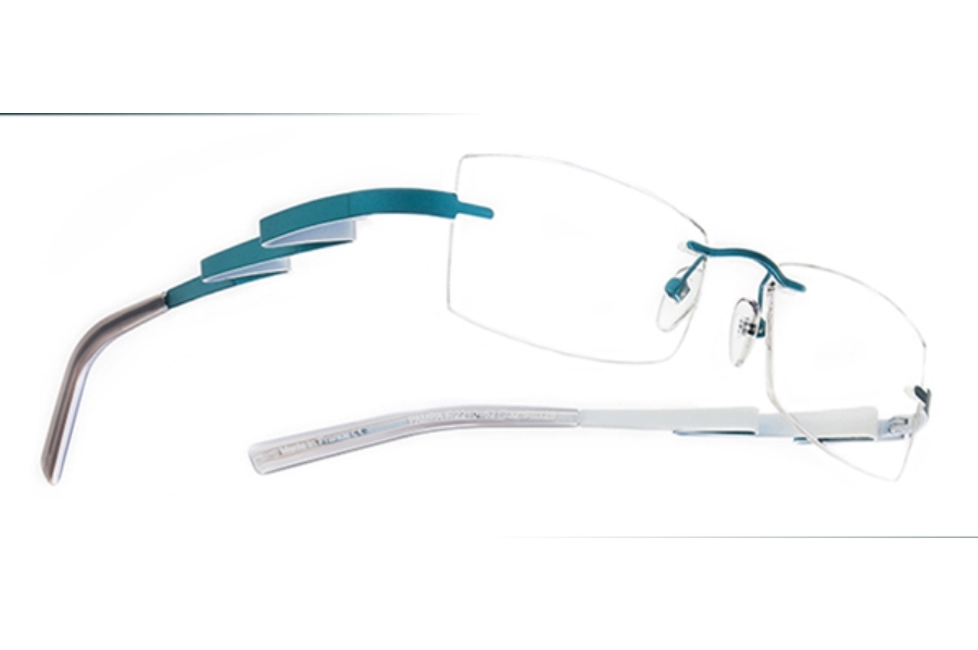 BOZ Pampa Eyeglasses in 2210 Turquoise - White