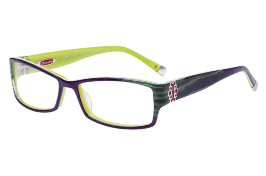 Coco Song So Beautiful Eyeglasses in C1 Purple / Green