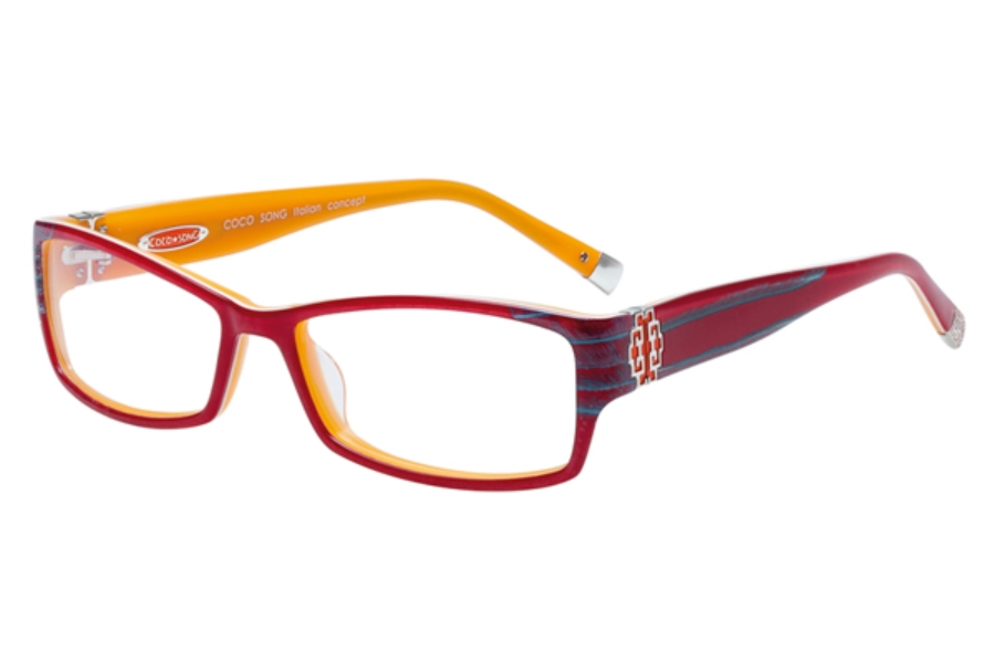 Coco Song So Beautiful Eyeglasses in C2 Red / Orange