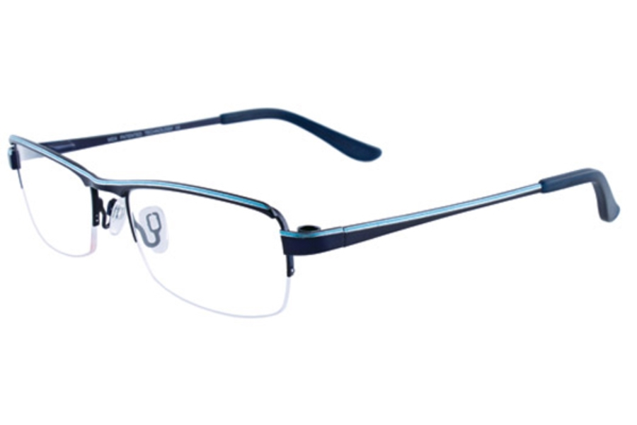 MDX - Manhattan Design Studio S3287 w/Magnetic Clip-ons Eyeglasses in 50 Satin Indigo and Turuoise