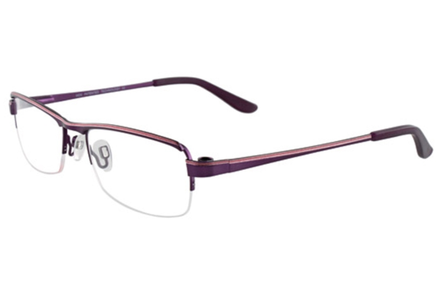 MDX - Manhattan Design Studio S3287 w/Magnetic Clip-ons Eyeglasses in 80 Satin Dark Purple and Pink