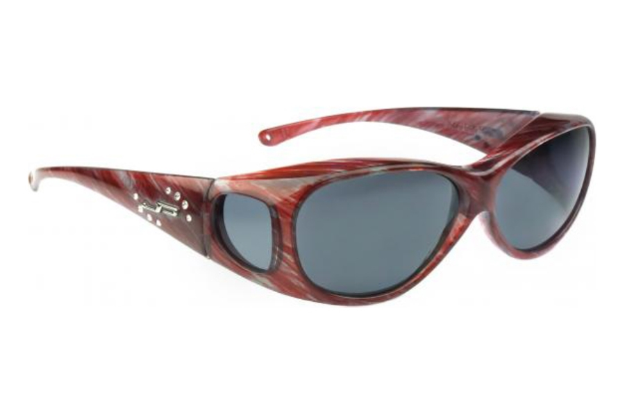 Fitovers Lotus Sunglasses in LS004S Clear Stripe w/ Gray Lenses