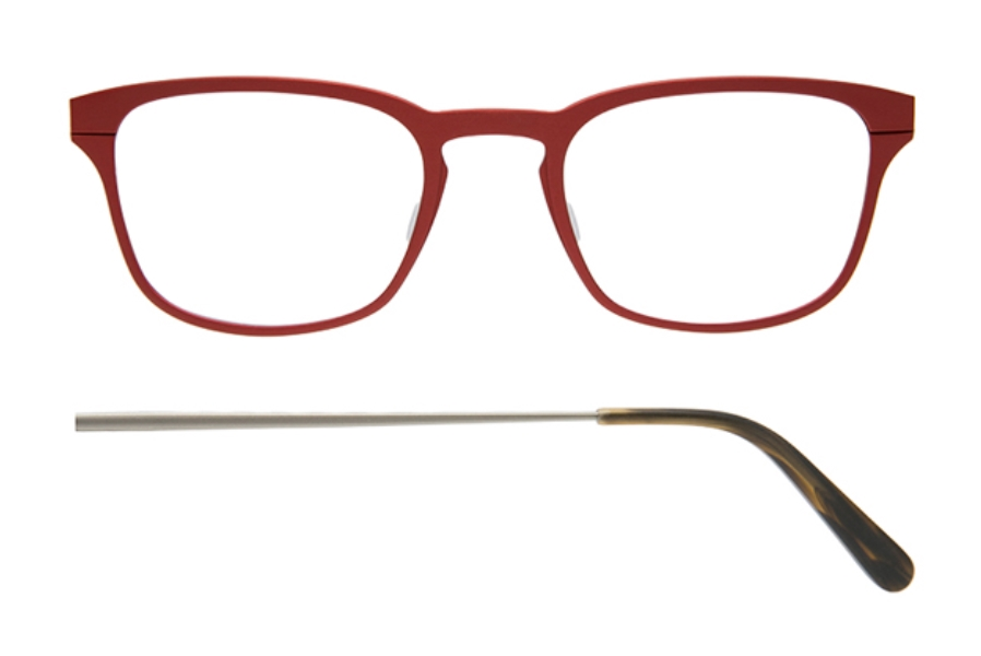 Kilsgaard 61 (Aluminium Temple) Eyeglasses in 61.3 Acetate Red (Discontinued)