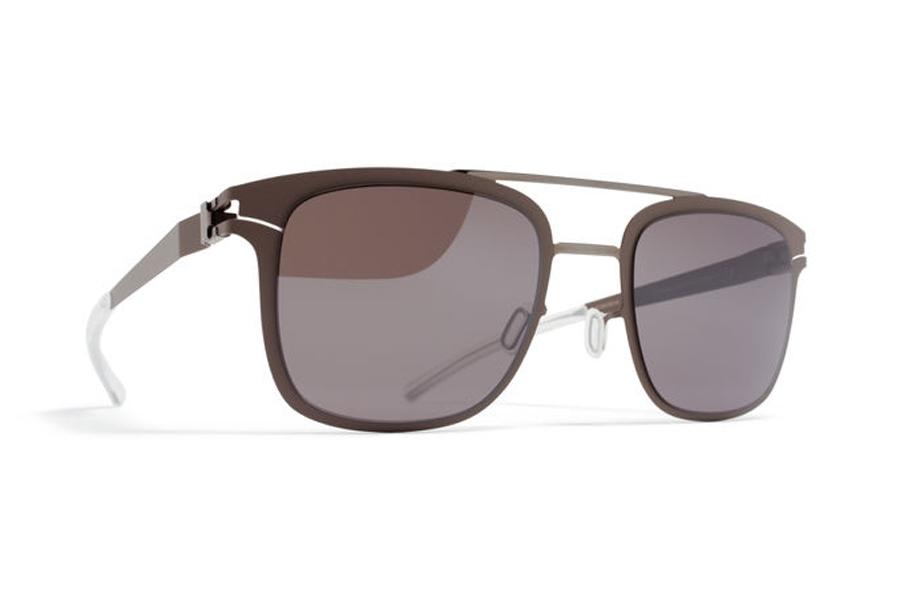 7334bbd9442 Mykita Hunter Sunglasses in Shiny Graphite   Mole Grey w  Dark Purple Flash  Lens ...