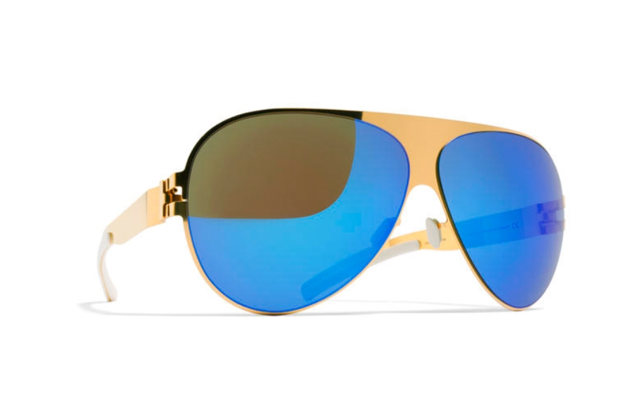 b2a69b4a03b3 ... Mykita Franz Sunglasses in F9 Gold w/ Azure Flash Lens ...