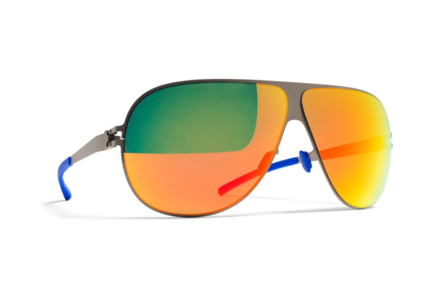Mykita Hubert Sunglasses in Matte Grey, Orange Flash