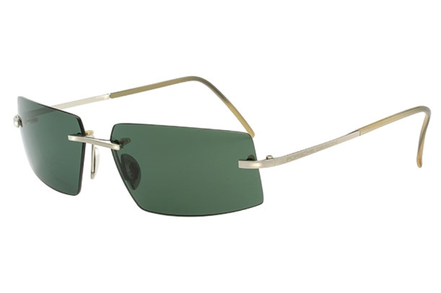 Porsche Design P 8447 18KT Gold Sunglasses in B) White Gold/Green
