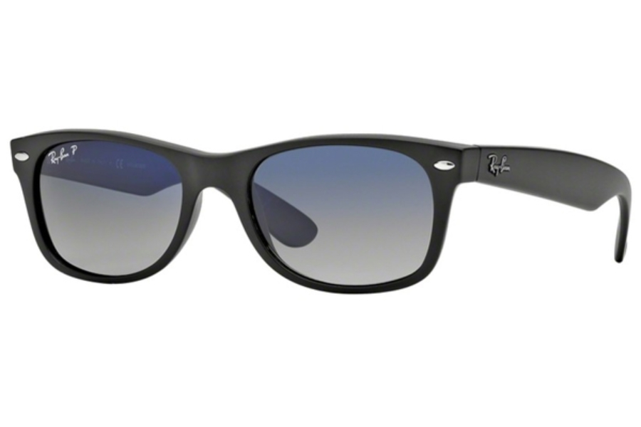 Ray-Ban RB 2132 Polarized Sunglasses in 601S78 Matte Black Blue Gradient Grey Polarized (52 & 55 Eye)