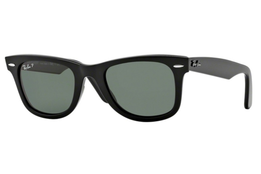 Ray-Ban RB 2140 Original Wayfarer Sunglasses in 901/58 Black/Crystal Green Polarized (50 & 54 Eye)