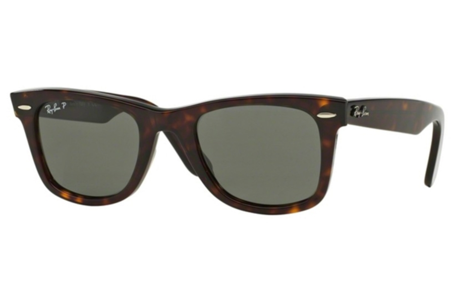 Ray-Ban RB 2140 Original Wayfarer Sunglasses in 902/58 Tortoise/Crystal Green Polarized (50 Eye)