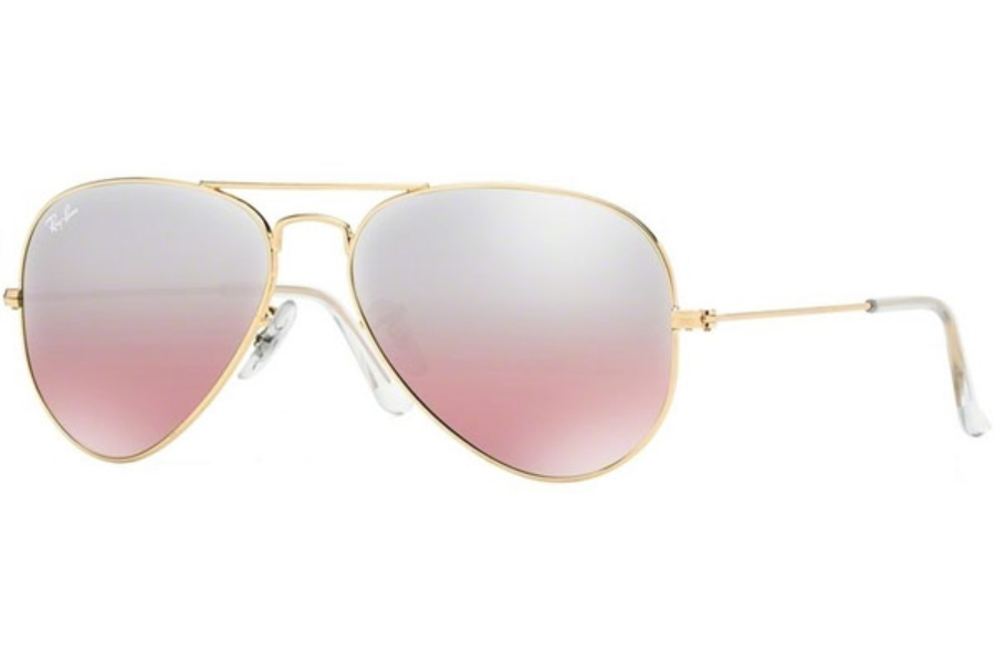 Ray-Ban RB 3025 (Aviator Large Metal with Mirrored Lenses) Sunglasses in 001/3E Gold w/ Crystal Brown-Pink Silver Mirror Lenses (55 and 58 Eyesize Only)
