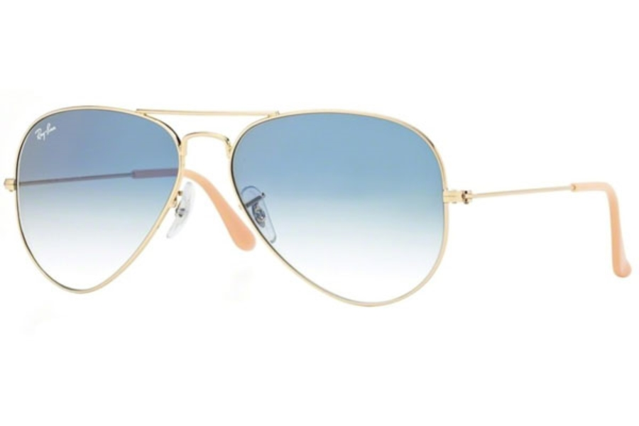 Ray-Ban RB 3025 (Aviator Large Metal) Sunglasses in 001/3F Gold Crystal Gradient Light Blue