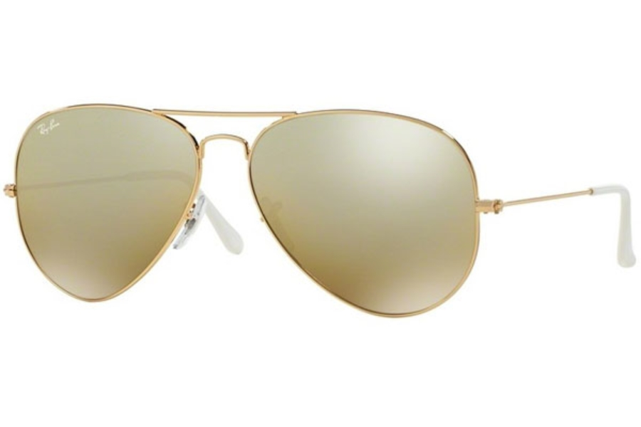 Ray-Ban RB 3025 (Aviator Large Metal with Mirrored Lenses) Sunglasses in 001/3K Gold Brown Mirror Silver Grad.
