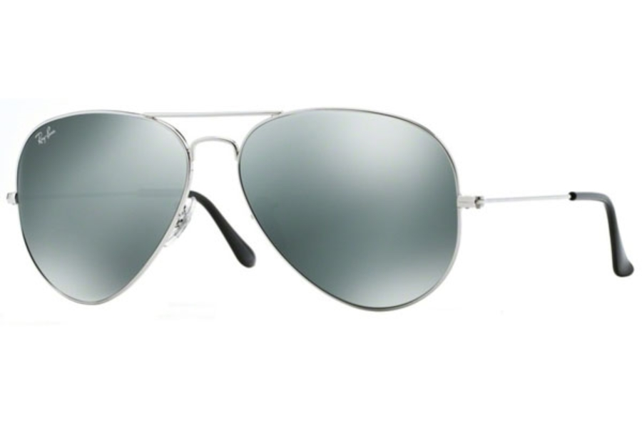Ray-Ban RB 3025 (Aviator Large Metal with Mirrored Lenses) Sunglasses in 003/40 Silver w/ Crystal Grey Mirror Lenses (62 Eyesize Only)