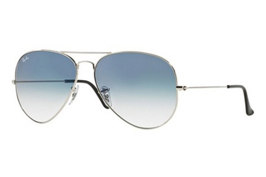 Ray-Ban RB 3025 (Aviator Large Metal) Continued Sunglasses in 003/3F Silver Crystal Gradient Light Blue