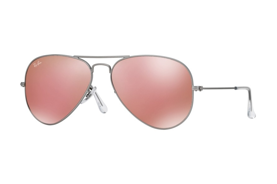 Ray-Ban RB 3025 (Aviator Large Metal with Mirrored Lenses) Sunglasses in 019/Z2 Matte Silver Brown Mirror Pink (55 and 58 Eyesizes Only)