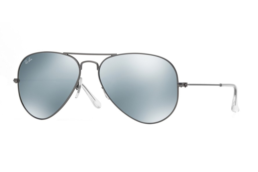 Ray-Ban RB 3025 (Aviator Large Metal with Mirrored Lenses) Sunglasses in 029/30 Matte Gunmetal Green Mirror Silver (55 and 58 Eyesizes Only)