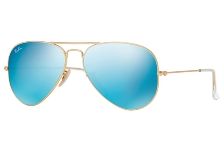 Ray-Ban RB 3025 (Aviator Large Metal with Mirrored Lenses) Sunglasses in 112/17 Matte Gold w/ Crystal Green Mirror Multi Blue Lenses