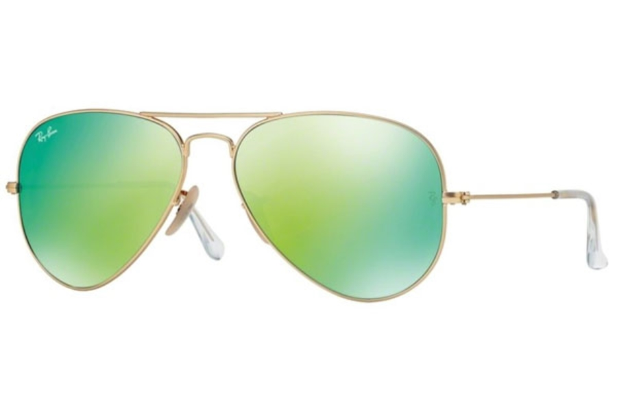 Ray-Ban RB 3025 (Aviator Large Metal with Mirrored Lenses) Sunglasses in 112/19 Matte Gold w/ Crystal Green Mirror Multi Green Lenses