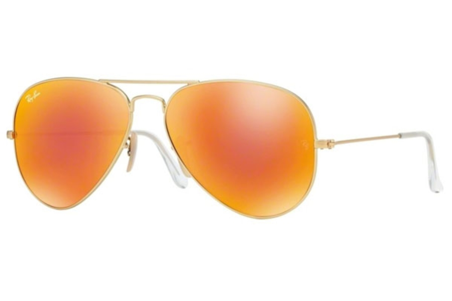 Ray-Ban RB 3025 (Aviator Large Metal with Mirrored Lenses) Sunglasses in 112/69 Matte Gold w/ Crystal Brown Mirror Orange Lenses