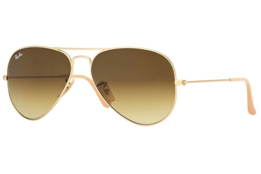 Ray-Ban RB 3025 (Aviator Large Metal) Sunglasses in 112/85 Matte Gold w/ Brown Gradient Lenses (55 & 58 Eyesize Only)