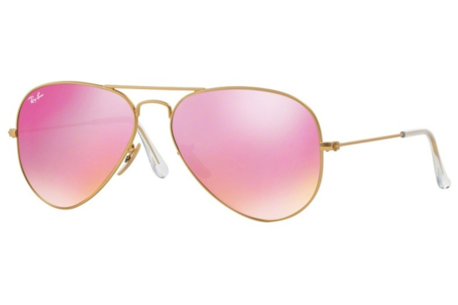 Ray-Ban RB 3025 (Aviator Large Metal with Mirrored Lenses) Sunglasses in 112/4T Matte Gold Green Mirror Fuxia (58 Eyesize Only)