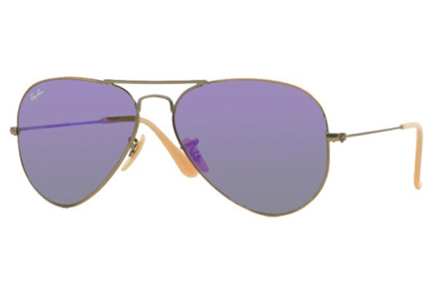 Ray-Ban RB 3025 (Aviator Large Metal with Mirrored Lenses) Sunglasses in 167/1M Brushed Bronze Demi Shiny Grey Mirror Purple (55 and 58 Eyesize Only)