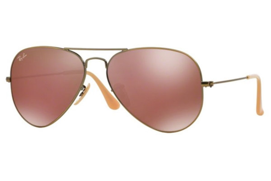 Ray-Ban RB 3025 (Aviator Large Metal with Mirrored Lenses) Sunglasses in 167/2K Demiglos Brushed Bronze / Red Mirror