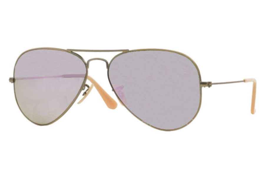 Ray-Ban RB 3025 (Aviator Large Metal with Mirrored Lenses) Sunglasses in 167/4K Demiglos Brushed Bronze Lilac Mirror (55 and 58 Eyesizes Only)