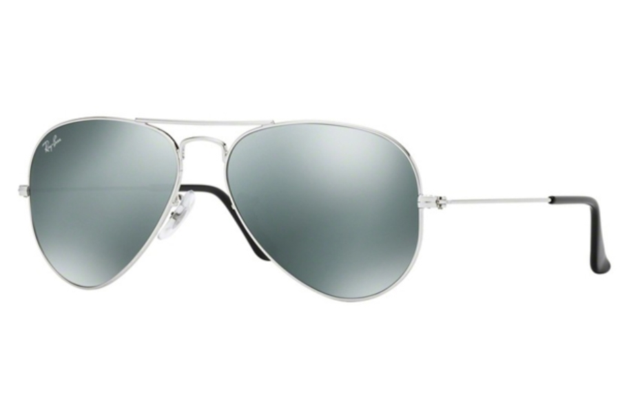 Ray-Ban RB 3025 (Aviator Large Metal with Mirrored Lenses) Sunglasses in W3275 Silver w/Grey Mirrored Lenses (55 Eyesize Only)