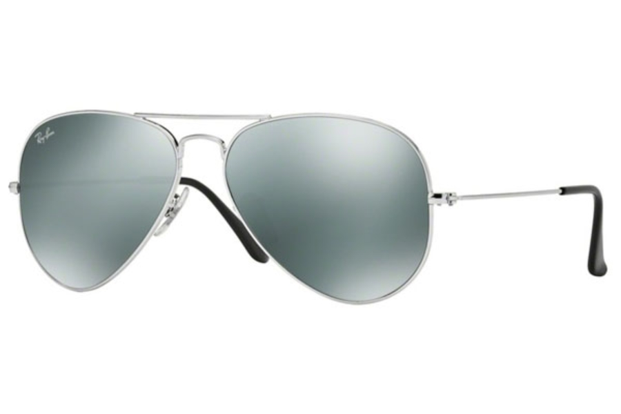 Ray-Ban RB 3025 (Aviator Large Metal with Mirrored Lenses) Sunglasses in W3277 Silver Crystal Gray Mirror (58 Eyesize Only)