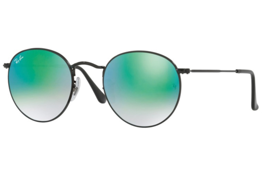 Ray-Ban RB 3447 ROUND METAL Sunglasses in 002/4J Shiny Black / Mirror Gradient Green (50 Eyesize Only)