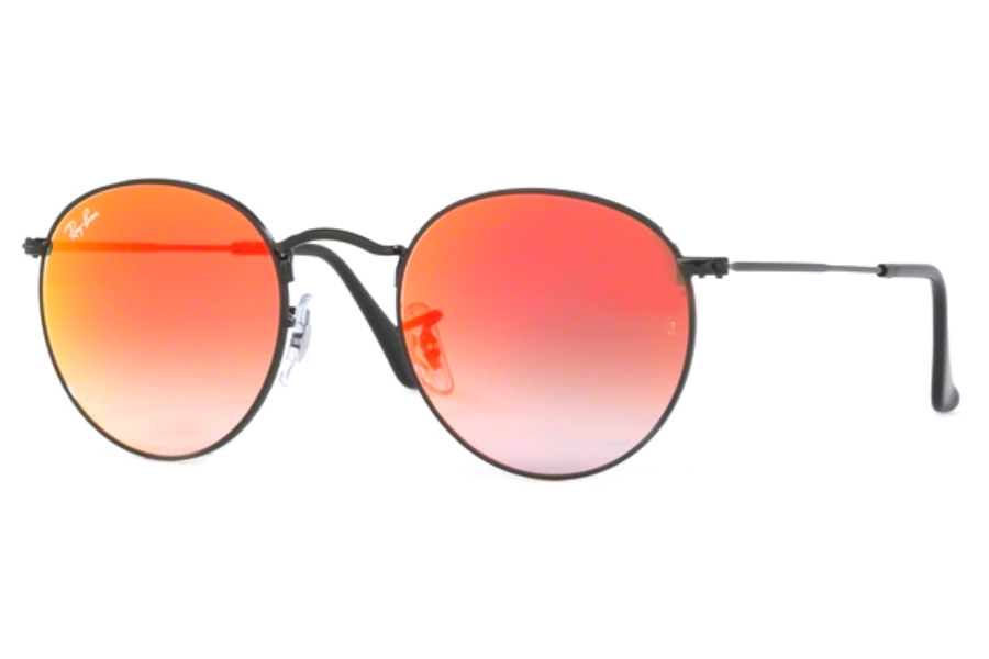 Ray-Ban RB 3447 ROUND METAL Sunglasses in 002/4W Shiny Black / Mirror Gradient Red (50 Eyesize Only)
