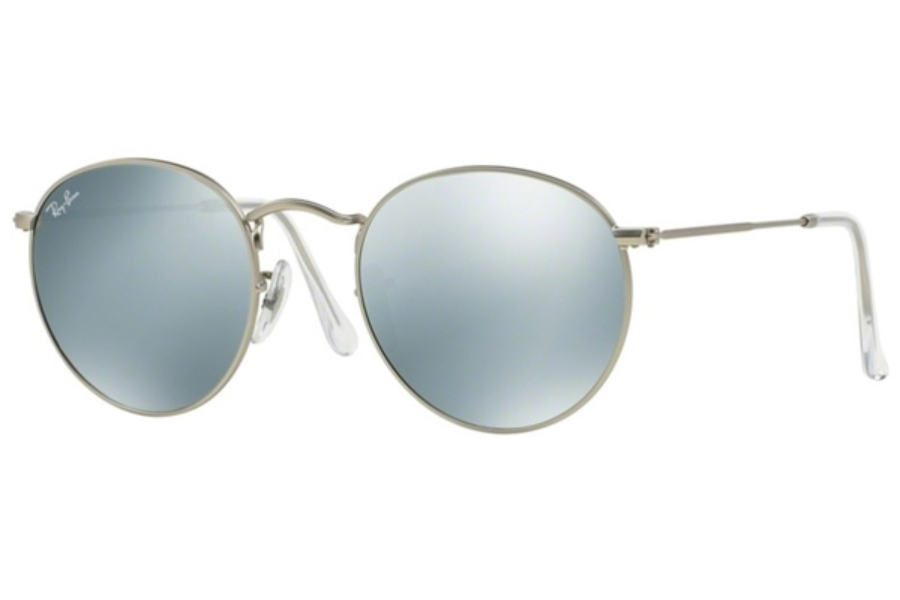 Ray-Ban RB 3447 ROUND METAL Sunglasses in 019/30 Matte Black Light Green Mirror Silver (50 Eyesize Only)