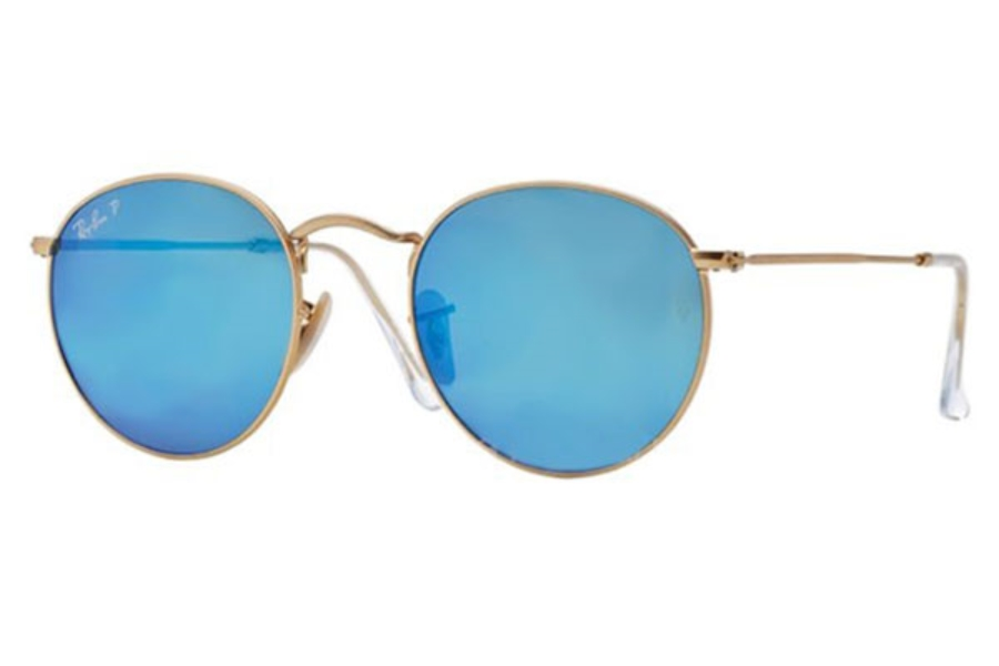 Ray-Ban RB 3447 ROUND METAL Sunglasses in 112/4L Matte Gold Blue Mirror Polar (50 Eyesize Only)