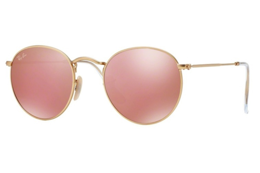 Ray-Ban RB 3447 ROUND METAL Sunglasses in 112/Z2 Matte Gold Brown Mirror Pink (50 Eyesize Only)