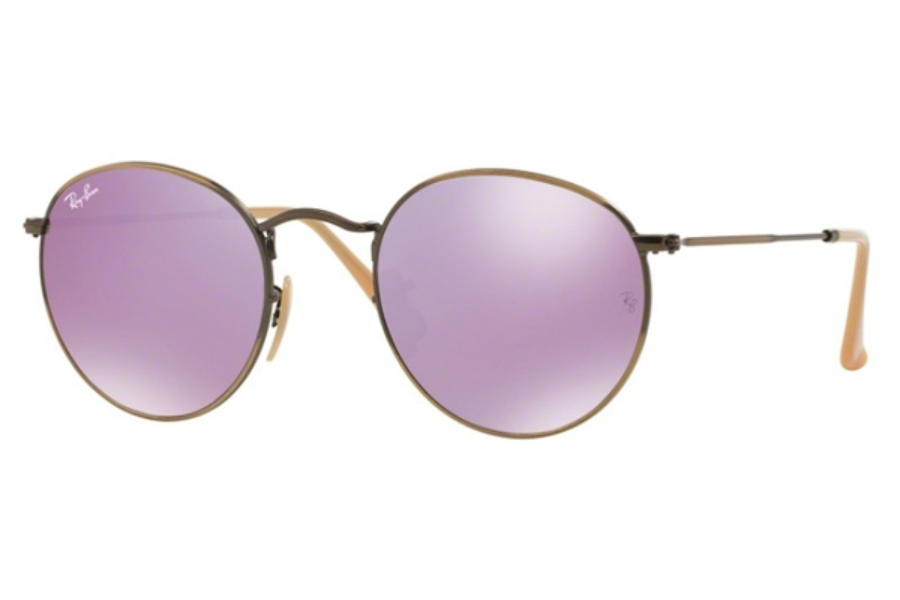 Ray-Ban RB 3447 ROUND METAL Sunglasses in 167/4K Demiglos Brusched Bronze / Lillac Mirror (50 Eyesize Only)