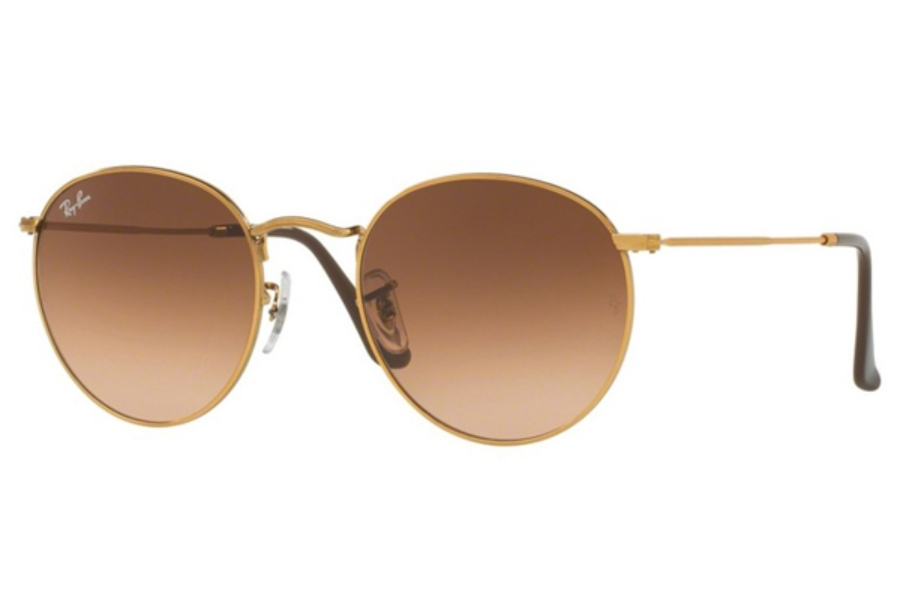 Ray-Ban RB 3447 ROUND METAL Sunglasses in 9001A5 Shiny Light Bronze / Pink Gradient Brown