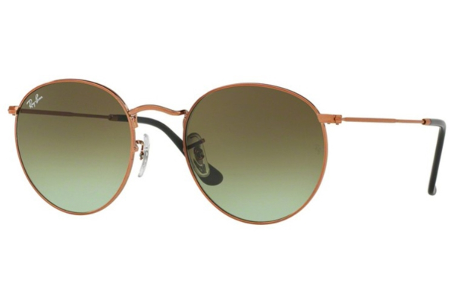 Ray-Ban RB 3447 ROUND METAL Sunglasses in 9002A6 Shiny Medium Bronze / Green Gradient Brown