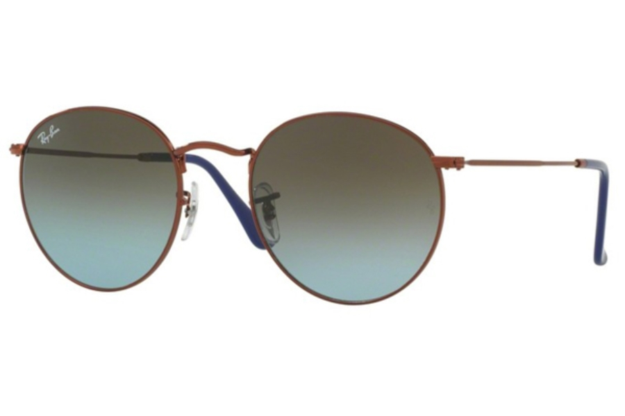 Ray-Ban RB 3447 ROUND METAL Sunglasses in 900396 Shiny Dark Bronze / Blue Gradient Brown