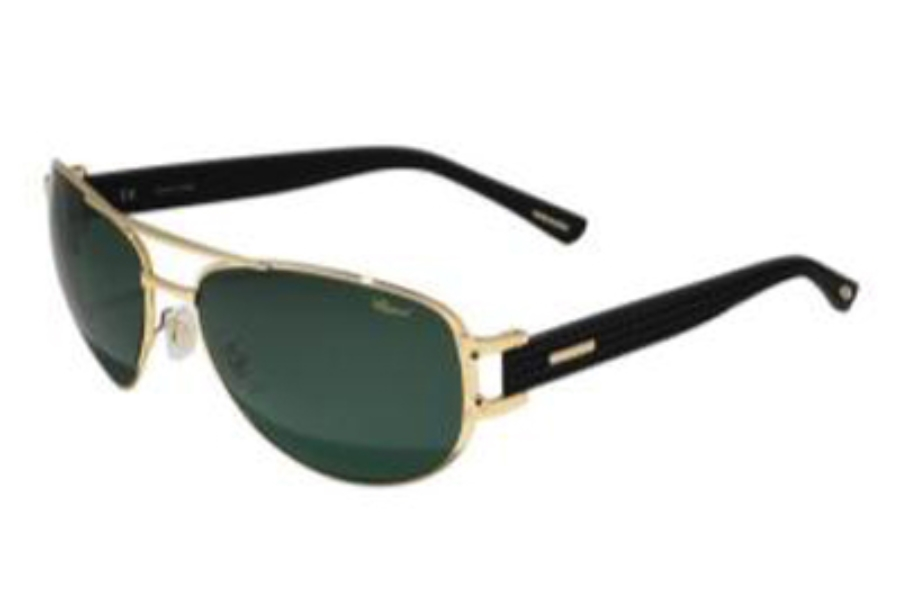 fe85fe277e6c Chopard SCH 906 Sunglasses in 300P Gold-Black   Green Polarized Lenses ...