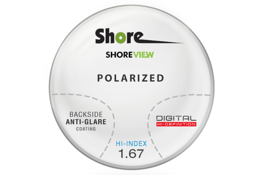 Shore Lens Shore View Digital High Index 1.67 thin polarized (Grey or Brown) Progressive W/ Back Side AR Coating Lenses in Shore Lens Shore View Digital High Index 1.67 thin polarized (Grey or Brown) Progressive W/ Back Side AR Coating Lenses
