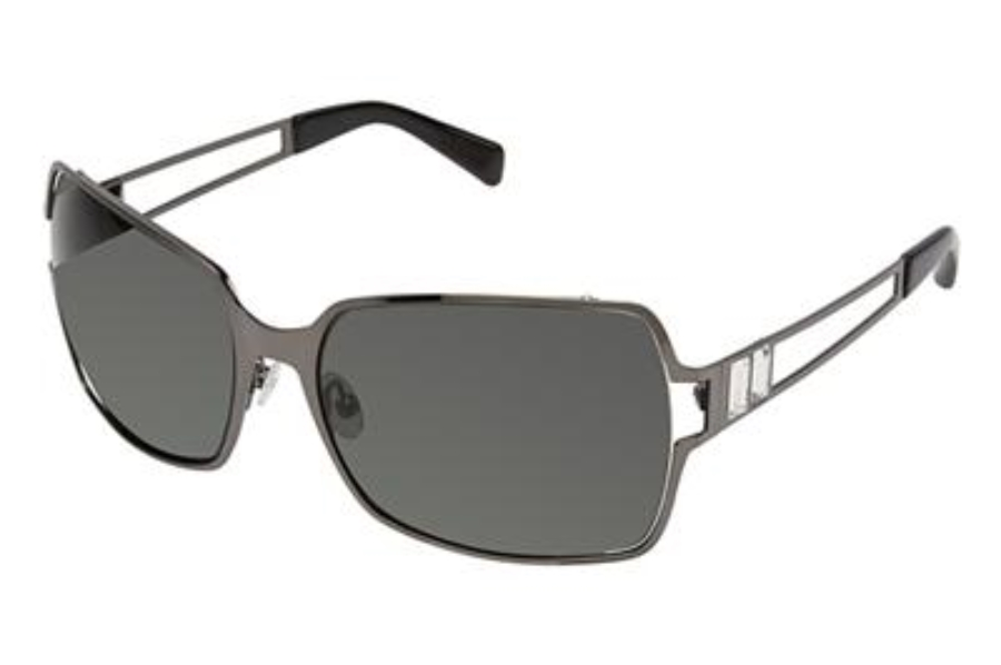 Tura 004 Sunglasses in Shiny Gunmetal w/ Crystal