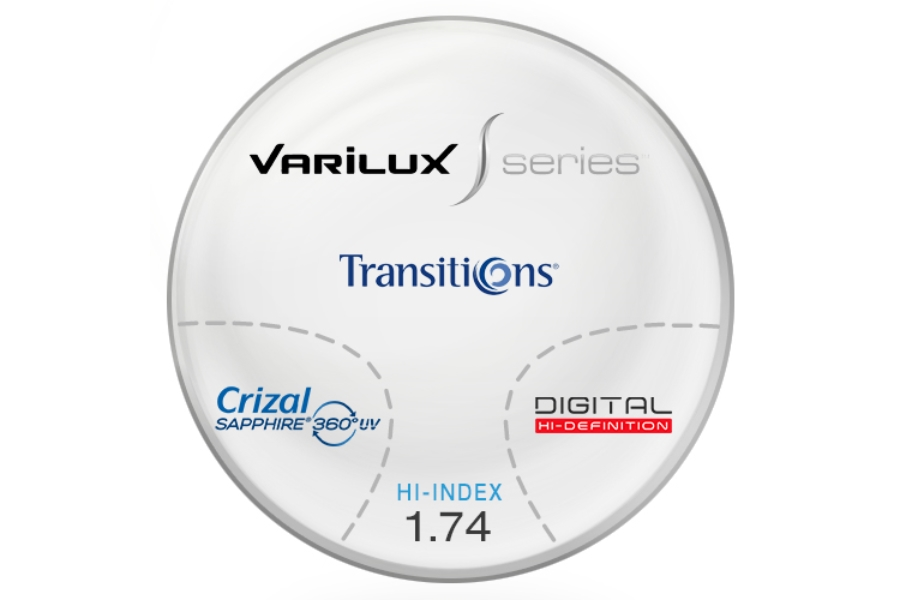 Varilux S Design Transitions® SIGNATURE VII [Grey or Brown] Hi-Index 1.74 Progessive W/ Crizal Saphire AR Coating Lenses in Varilux S Design Transitions® SIGNATURE VII [Grey or Brown] Hi-Index 1.74 Progessive W/ Crizal Saphire AR Coating Lenses
